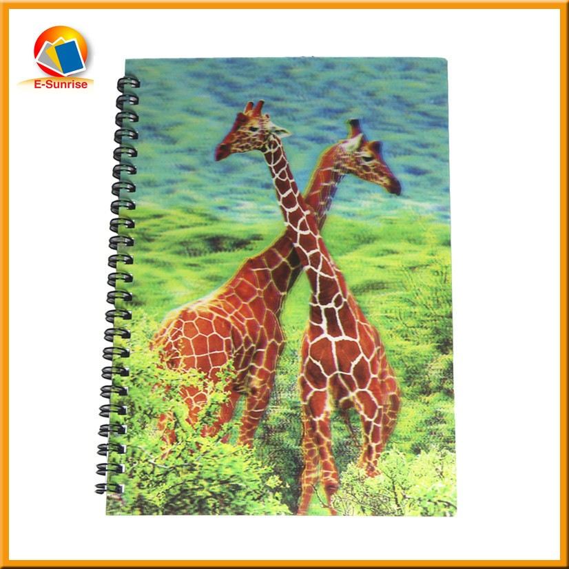 Free sample A5 size 3d lenticular notebook cover with new design