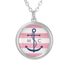 Fashion Art Jewelry Round White Pink Stripes Nautical Anchor Pendant Necklace
