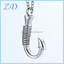 Wholesale Stainless Steel Fish hook urn pendant Necklace Memorial Ash Keepsake Cremation Jewelry