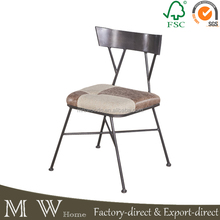 vintage industrial chair furniture, leather seat metal chair, simple design metal dining chair