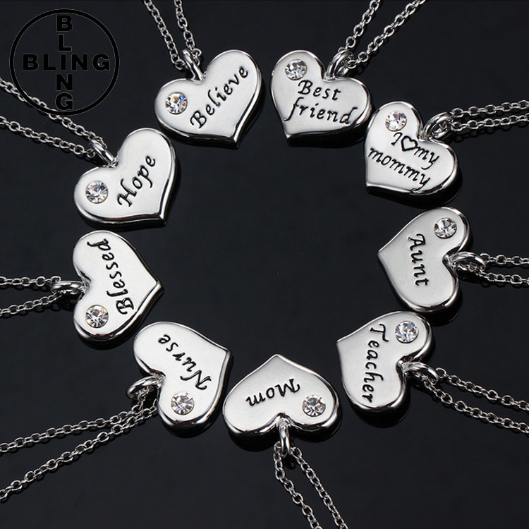 >>>Top Selling Unique Handmade Silver Heart Crystal Charm Necklace