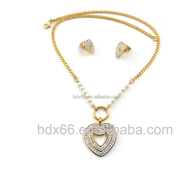 Best Selling Gold Plated Stainless Steel White Plastic Bead Handmade Rosary Prayer Necklace With Crystal Heart Pendant Charm