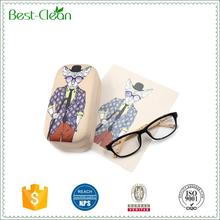 Cool micro fiber hard metal eyeglasses case