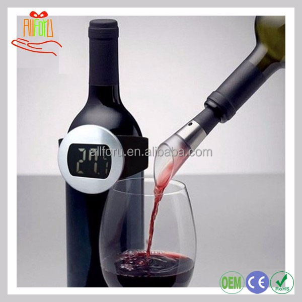 LCD digital electronic wine bottle thermometer, wine thermometer