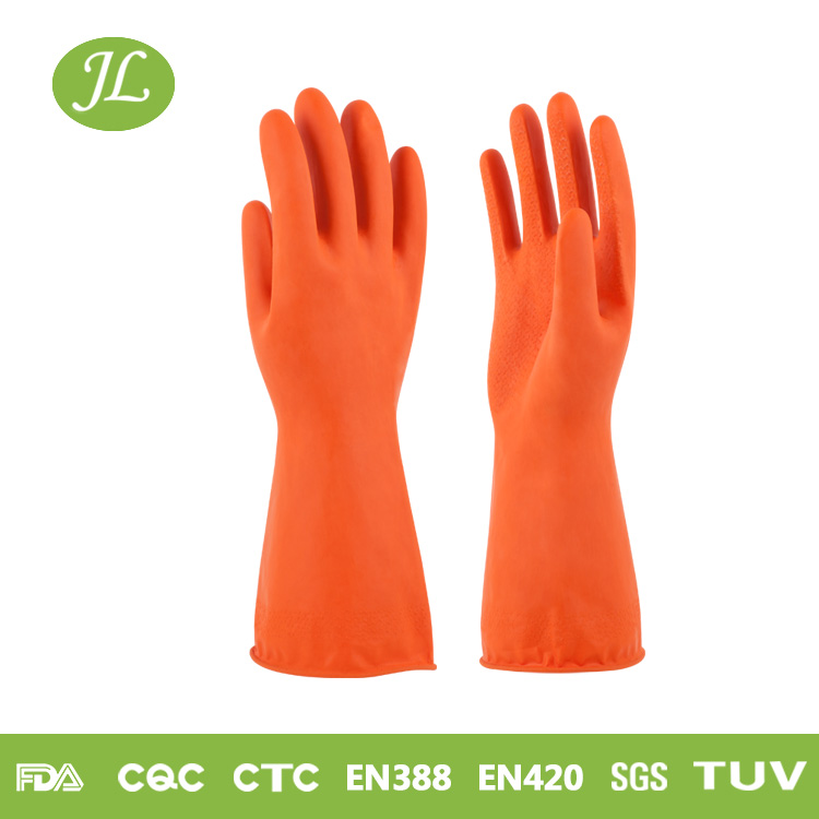 Durable rubber coated hand orange colored latex finger glove
