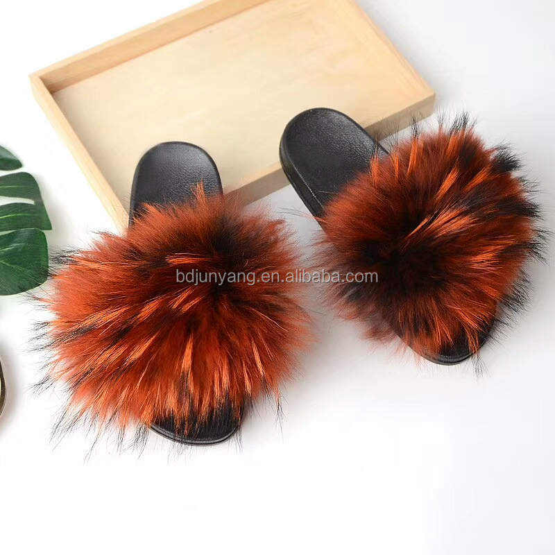Attractive Design Slides Real Racoon Skin Fur Slippers Women