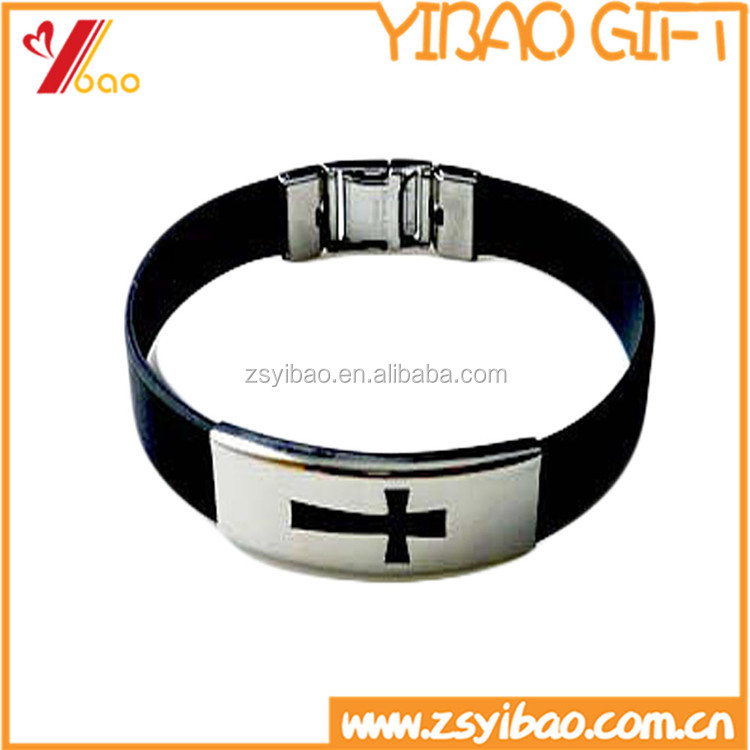 Cheap new silicone wristband / metal clasp debossed silicone bracelet rubber bracelet