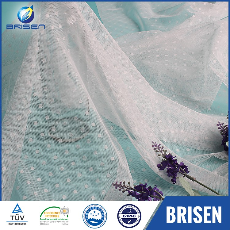 Quality Fashion Clothing White Dot Tulle Fabrics