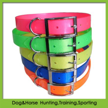 hot sale fluo TPU coated nylon webbing dog collar for deer hunting