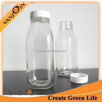 16oz Recycled Clear Glass Square Bottle For Guyabano Juice