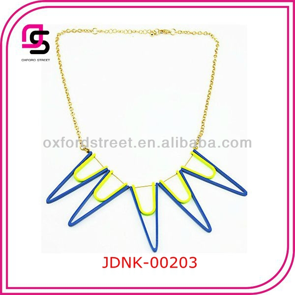 neon blue yellow spike necklace