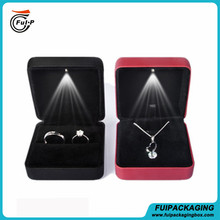 Wholesale High quality metal with PU leather LED light jewelry ring packaging box made in china