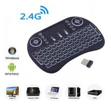 Mini I8 2.4G Wireless Touchpad Keyboard Adjustable Speed Air Mouse Game Keyboard With Backlight For Android Black White
