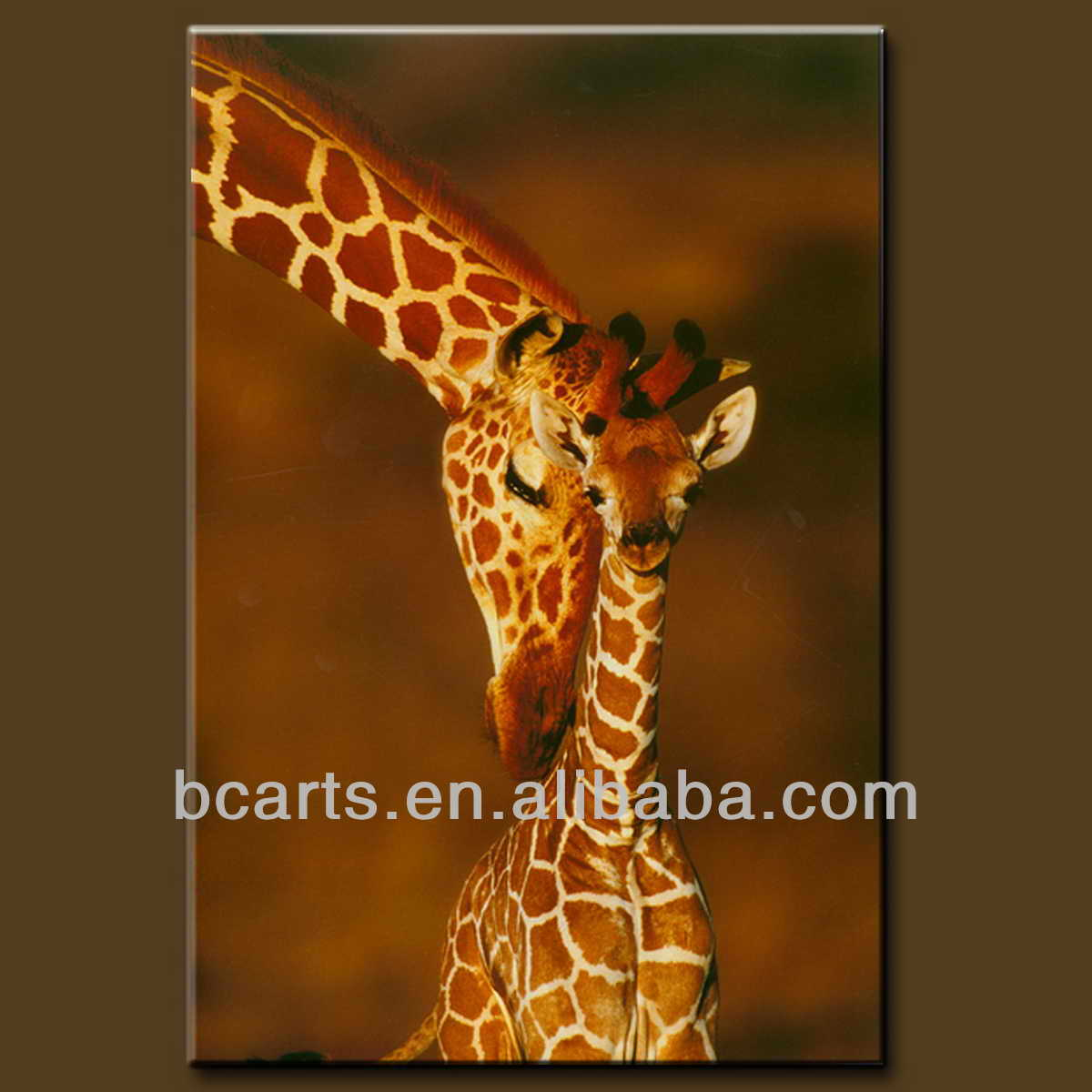 Handmade Giraffe Painting On Canvas, Realistic Animal Oil Paintings