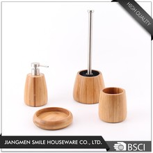 New Developed 4pcs Bamboo Bathroom Set,Bamboo Bath Accessory Set