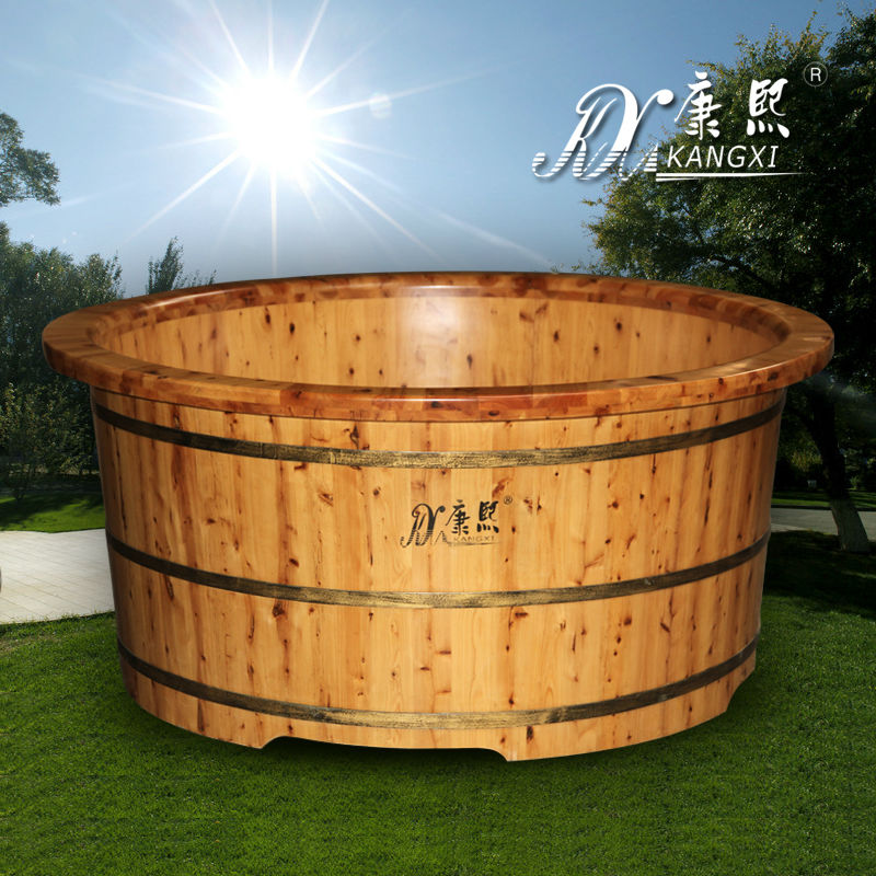 Chinese solid round three people used outside wood burning hot tub