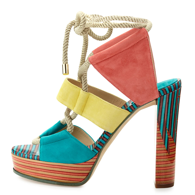 Sweet Fancy Lace up <strong>Sandals</strong> with Upper Colorful Shoes