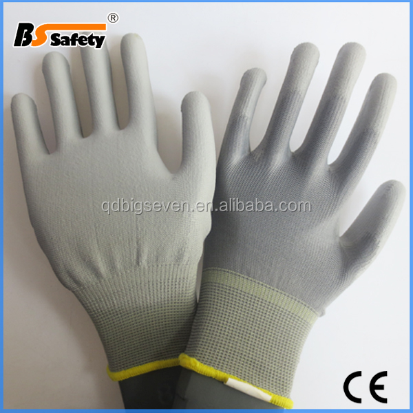 BSSAFETY security gloves,pu coated nylon working gloves,13G Knitted Black Nylon PU Gloves work safety gloves