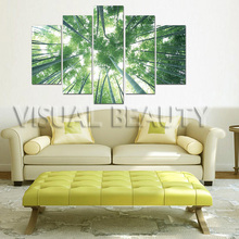 2016 Newest Group Canvas Art picture For Decor Forest Wall Art Bamboo Paintings Modern