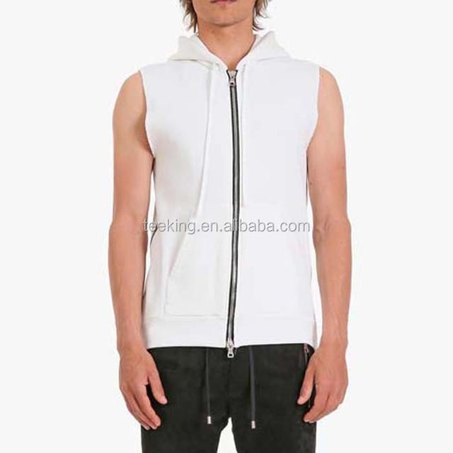 New man's white plain side zipper sleeveless hoodie