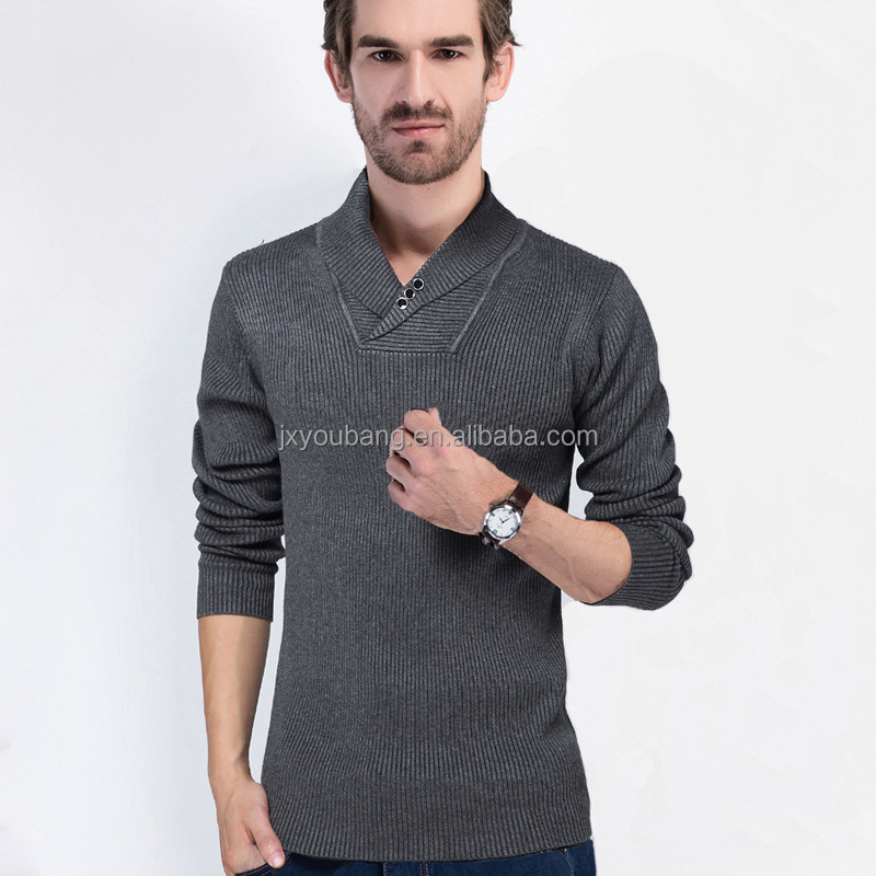 2017 NEW ARRIVAL shawl colloar western style custom fit long sleeve man's thick cotton sweater