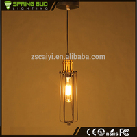 Popular vintage metal cage iron wire bar iron art pendant lamp