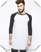New Fashion Mens Super Longline T Shirts Contrast Raglan 3/4 Sleeve Tees Wholesale 100% Cotton Plain Long T Shirts Made In China