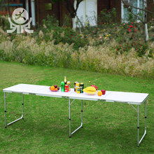Outdoor furniture MDF board aluminum height adjustable beerpong table set 8ft folding garden beer pong tables
