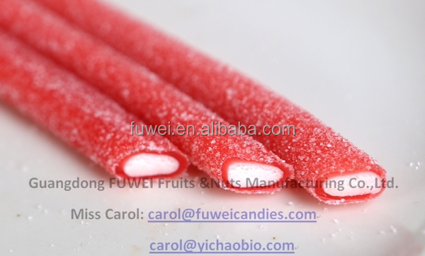 Sour Straws center filled gummy liquorice starch candy