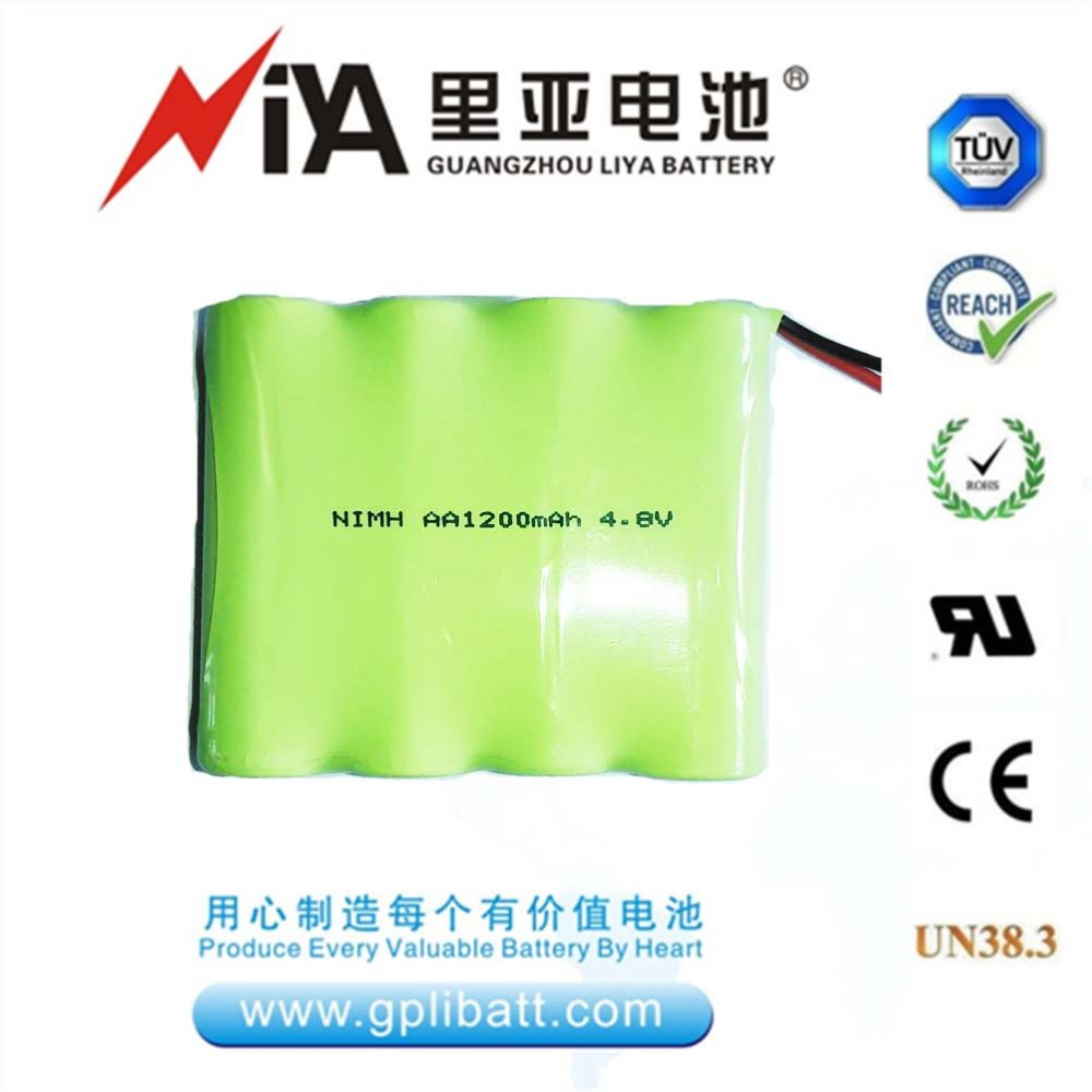 4.8V AA size 1200mAh rechargeable nimh battery pack