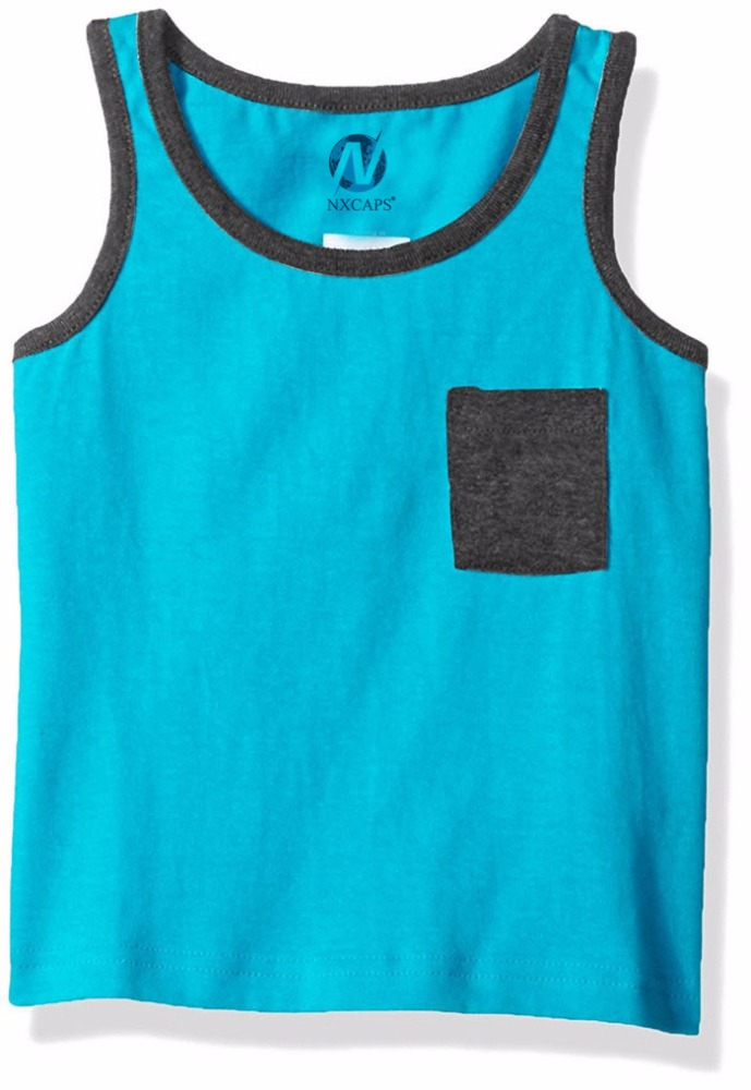 Stylish toddler tank top plain sleeveless t shirt 100% cotton kids tank tops with pocket