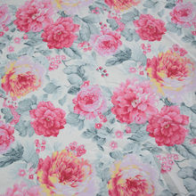 100% cotton elegant pastoral big rose floral twill fabric for DIY kids doll crib bedding pillow dress handwork patchwork cloth