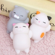 Wholesale price Cute 3D Soft Silicone PU Squishy cat Animals Toy Squeeze Toys use stick on phone case squishy cat