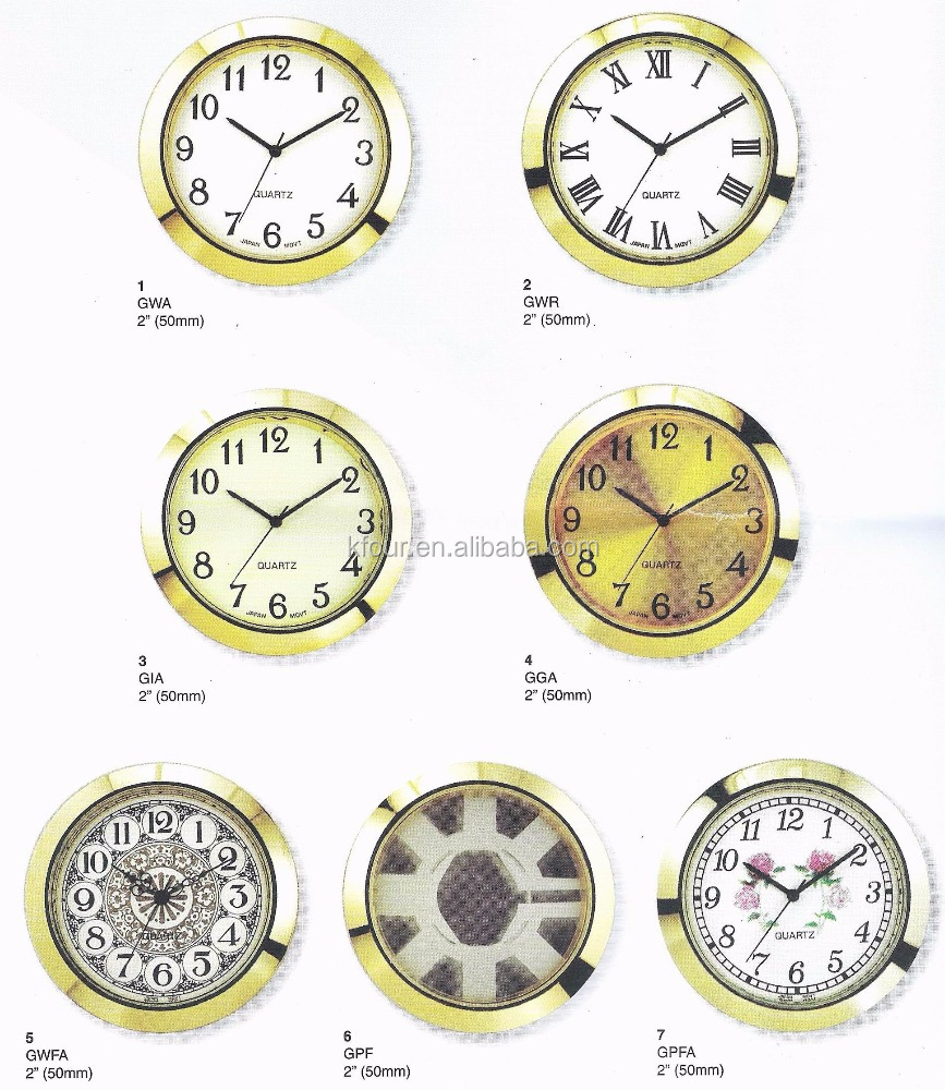 50mm watch bezel insert 2 inch gold silver quartz mini clock head clock inserts