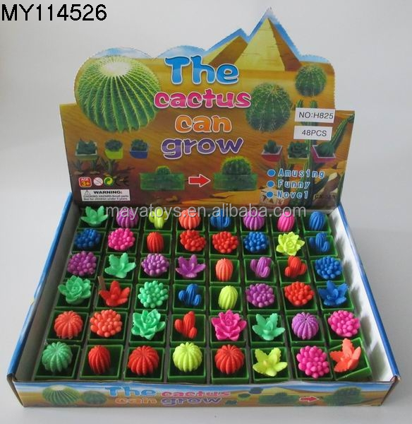 Plastic Cactus growing Botany toy water growing egg toys customized children funny water growing toys