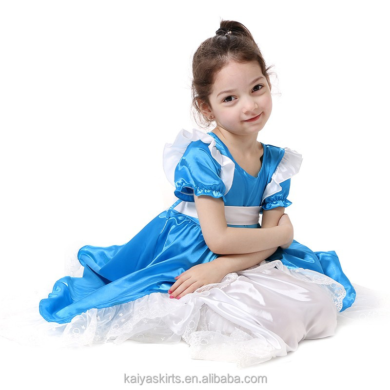summer casual blue baby girl wear western designer one piece party dress