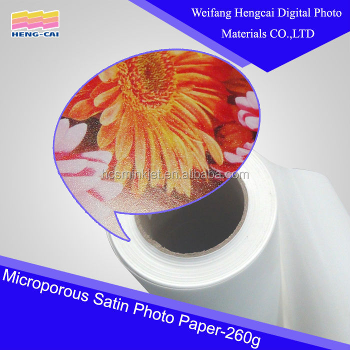 water based ink -satin microporous photo paper for digital printing