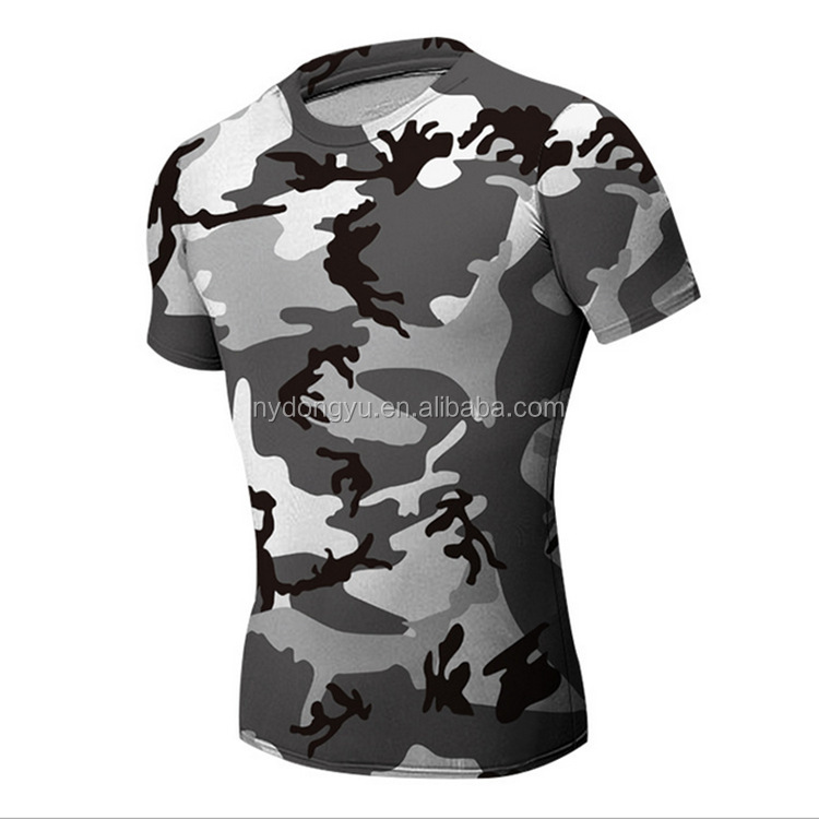 Gray camo fast dry tight fit t shirts super sport camoflage short sleeve t shirts