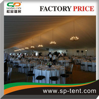 600 Persons Banquet marquee Tents with inner decorated white pleated satin roof linings&side curtains