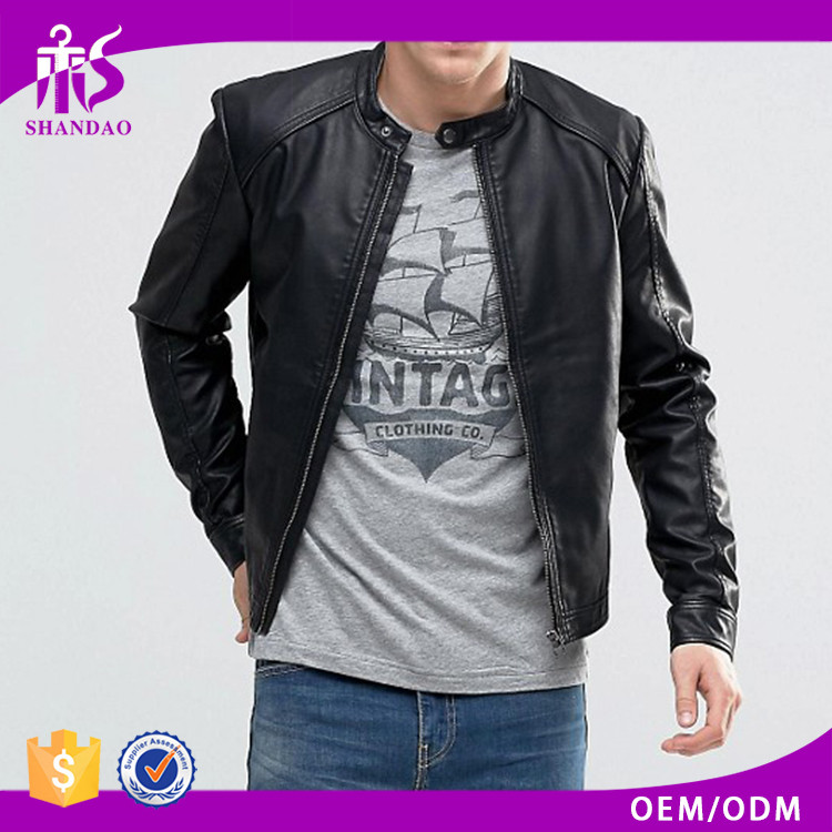 Guangzhou Shandao Good Quality Wholesale Low Price Fashion Black leather jacket manufacturers