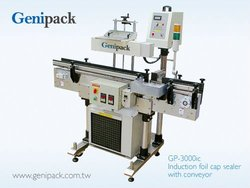 Auto induction foil cap sealer with conveyor