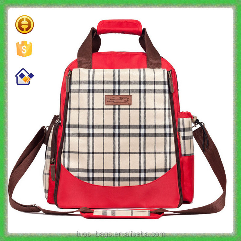 2015 Best Sell Multi-Function Lattice Polyester Material baby diaper bag