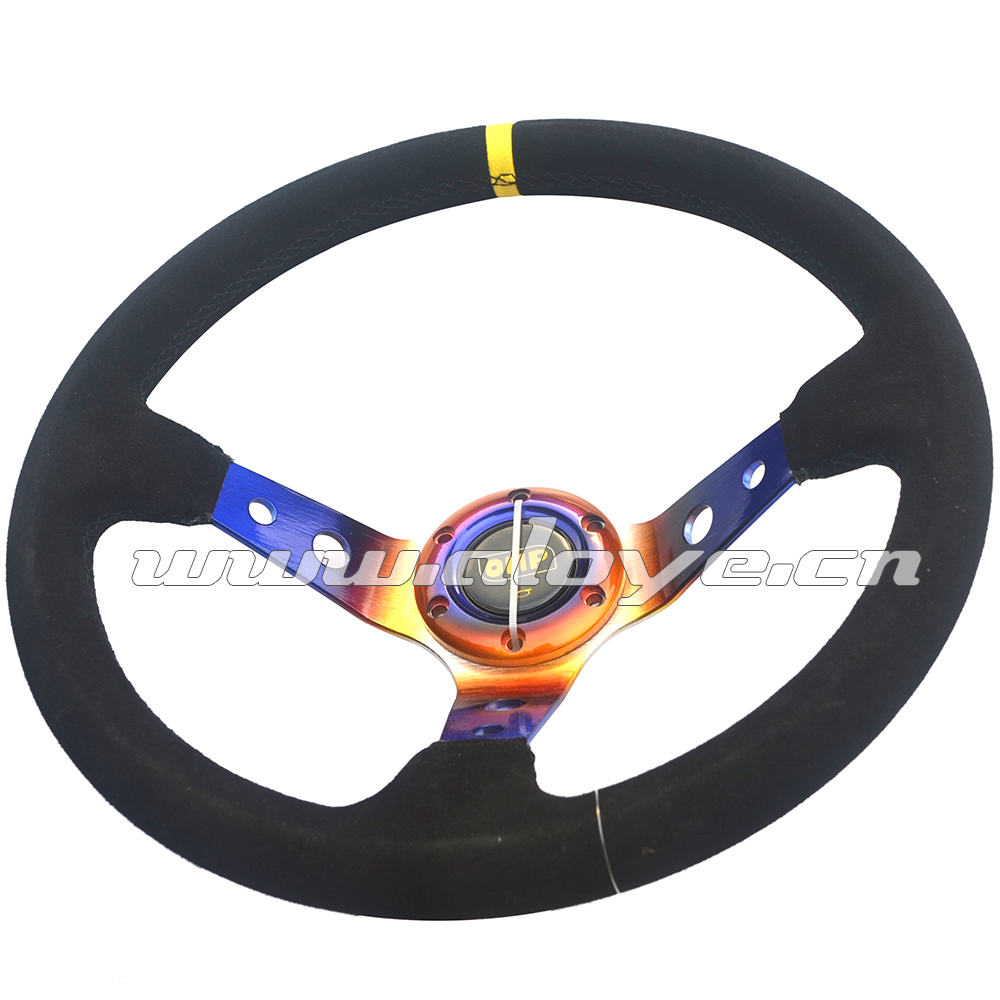 Neo Chrome Suede Leather Sport Car Steering Wheel