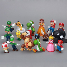 High quality 18 pcs / set 3D mini Super mario bros PVC figure for wholesale