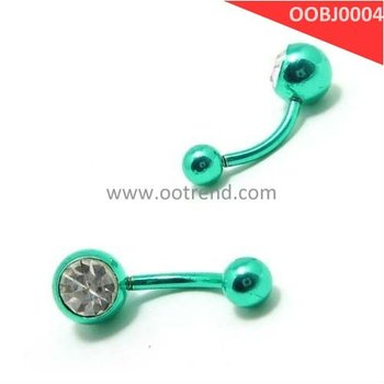 Green color body jewelry,stainless steel 316L materila and white zircon body piercing jewelry