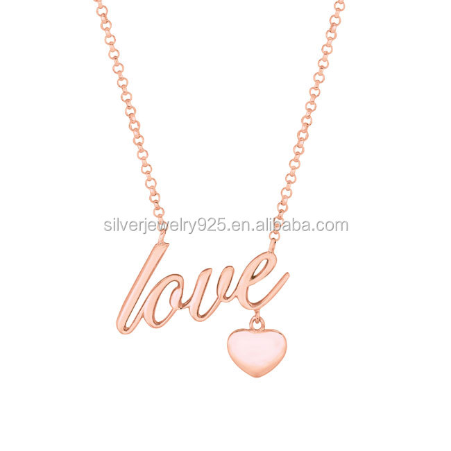 Rose gold plated sterling silver high polish heart and love girldfriend necklace