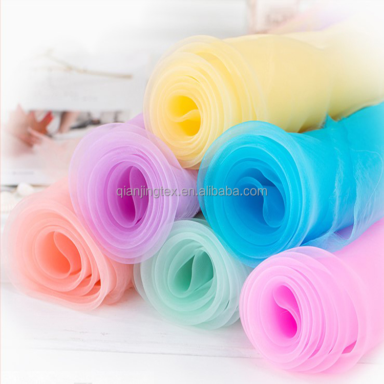 New arrival cheap 42 colors transparent polyester organza <strong>fabric</strong>