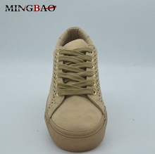 Low Cut Vulcanized Women Shoes Ladies Flat Casual PU Shoes And Sneakers