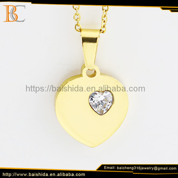 2017 Fashion heart pendant necklaces simple gold plated pendant design with stainless steel