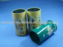 Round packing tin box for pencil